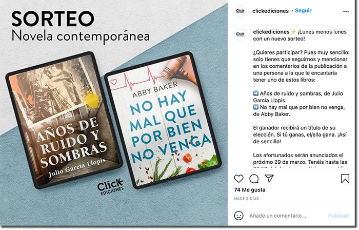 ejemplo de sorteo de unos libros en Instagram