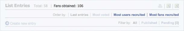 Ordenar los participantes por los que más nuevos usuarios y fans han captado