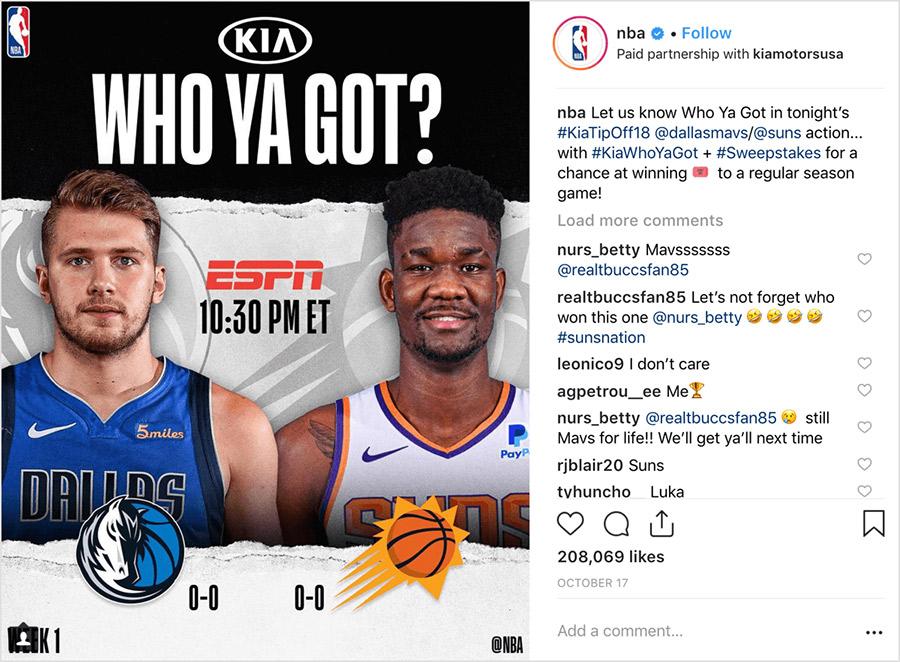 ejemplo de sorteo en Instagram entre dos marcas