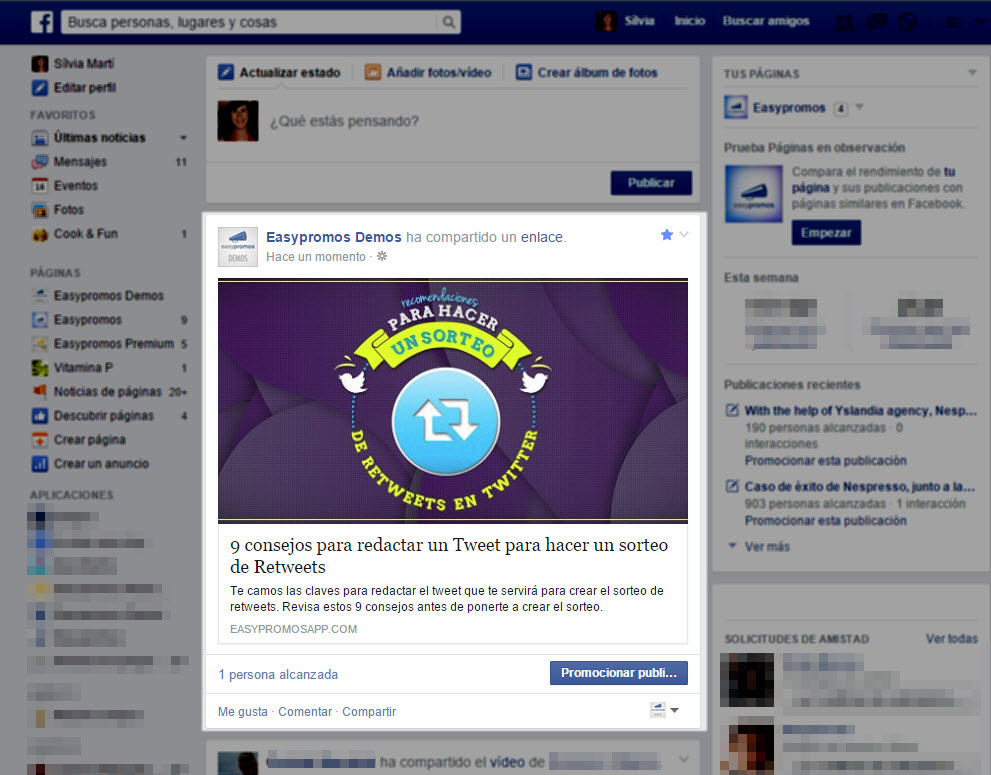 info destacada en tu newsfeed