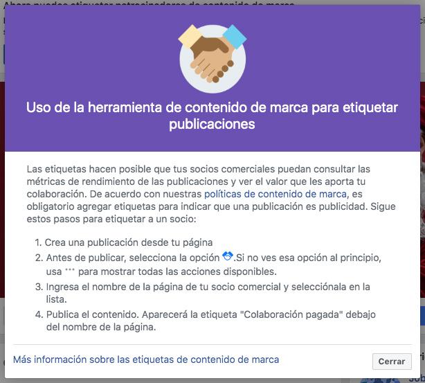 información de facebook para gestionar contenido de marca para etiquetar publicaciones