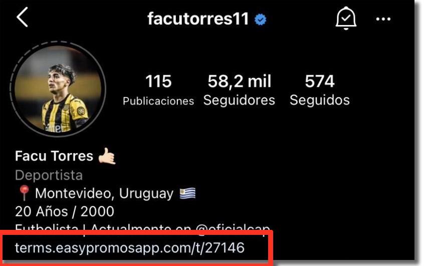 link del sorteo en la bio de Facu Torres
