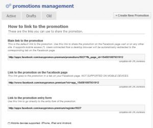 Pantalla de los enlaces de la promoción