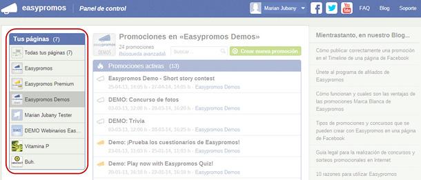 Easypromos - Listado de paginas de Facebook