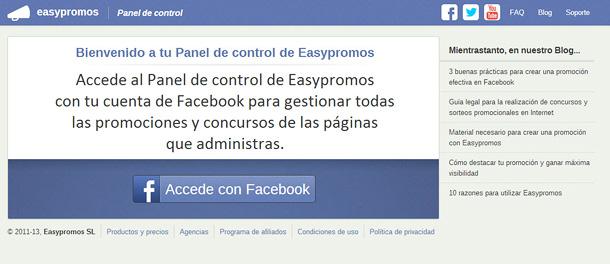 Easypromos - Acceso Panel de Control