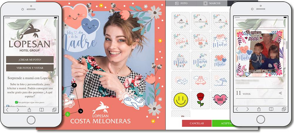 ejemplo de aplicación para hacer postales para el Día de la Madre