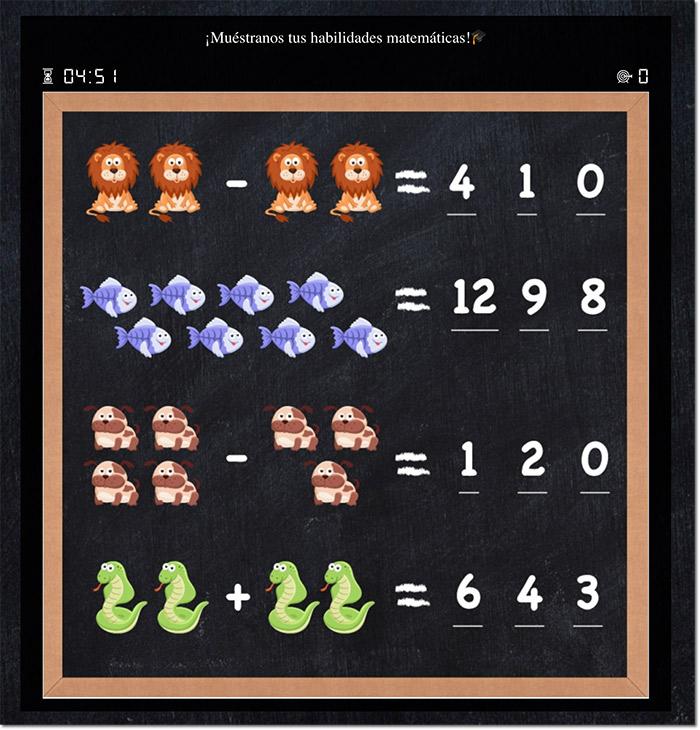 Ejemplo de juego de matemáticas