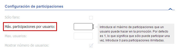 Easypromos - maximo participaciones por usuario