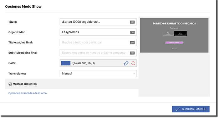 página para configurar el modo show
