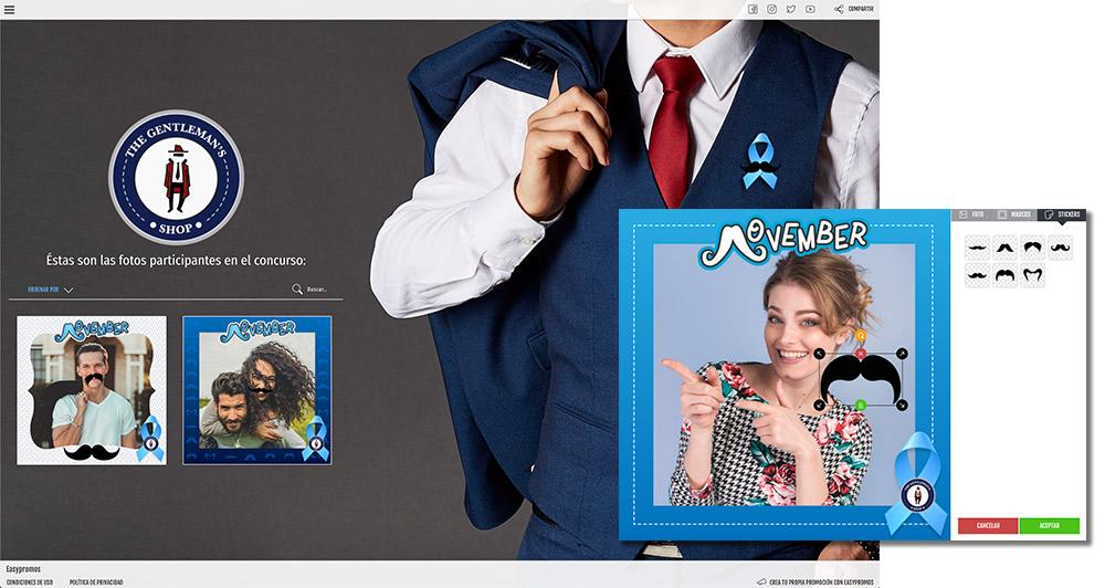 ejemplo de promoción donde el usuario decora su foto para sumarse al Movember