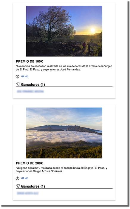 página de ganadores de un concurso de votaciones online