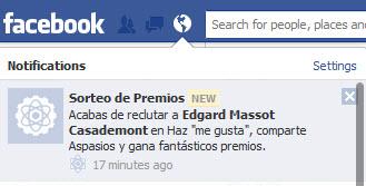 Easypromos - Notificacion Facebook nuevo usuario reclutado