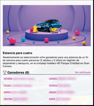 página ganadores premio sorteo online centro comercial