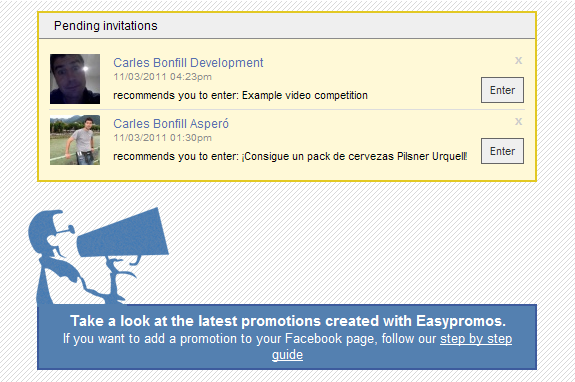 Invitations to pending promotions inside Easypromos