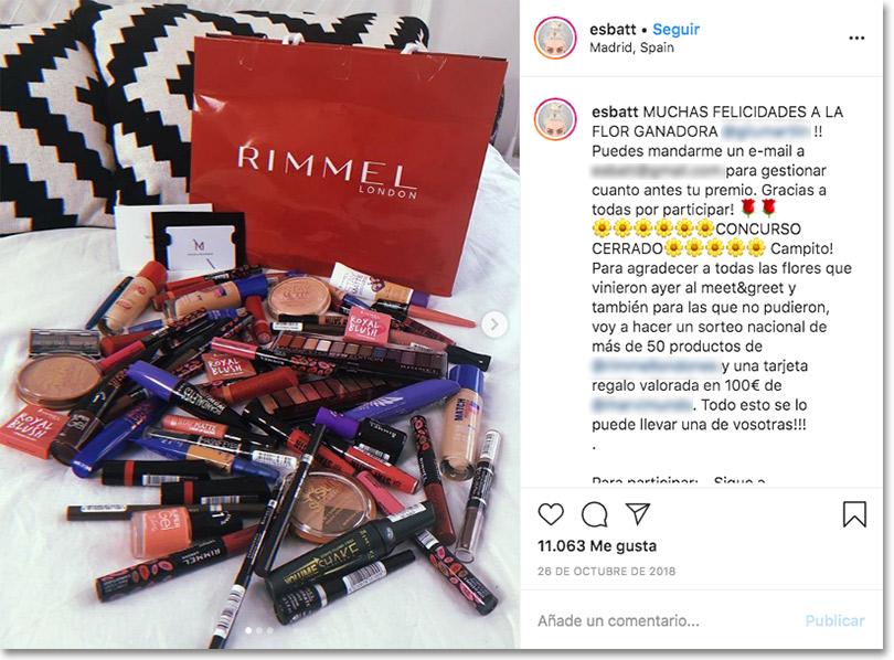 ejemplo de sorteo en instagram para potenciar la marca personal