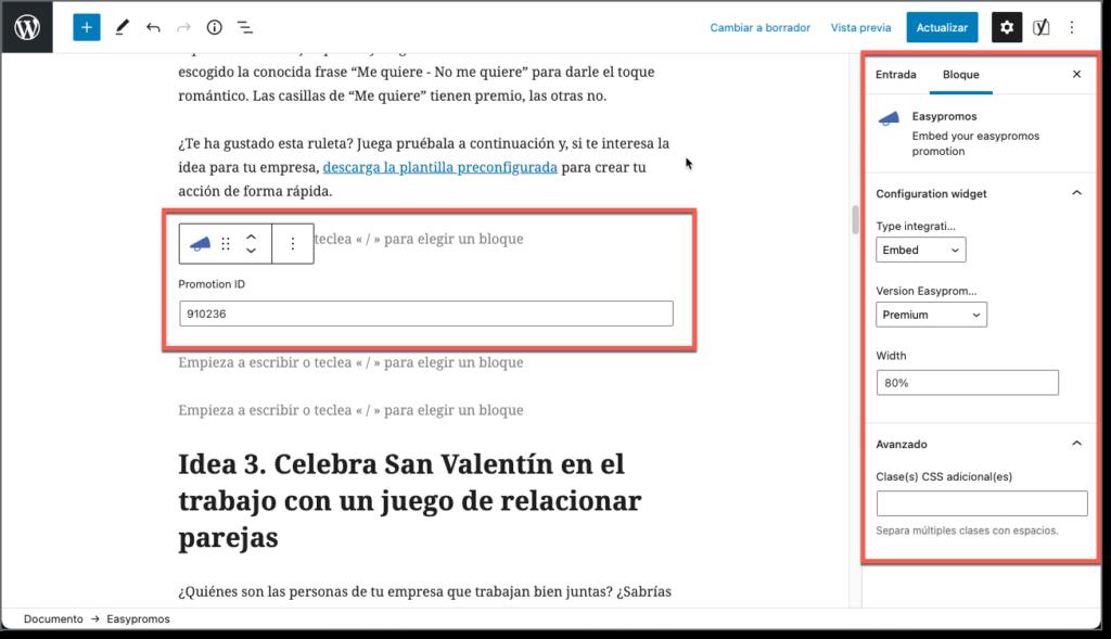 personalizacion plugin easypromos en wordpress