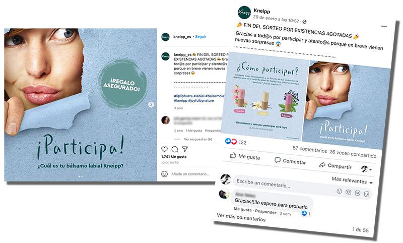 post en instagram y facebook del recomendador de productos de kneipp