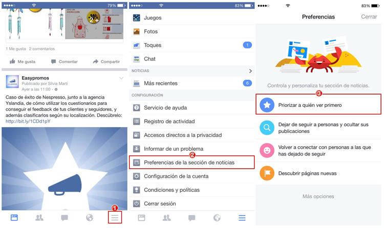 preferencias newsfeed mobil