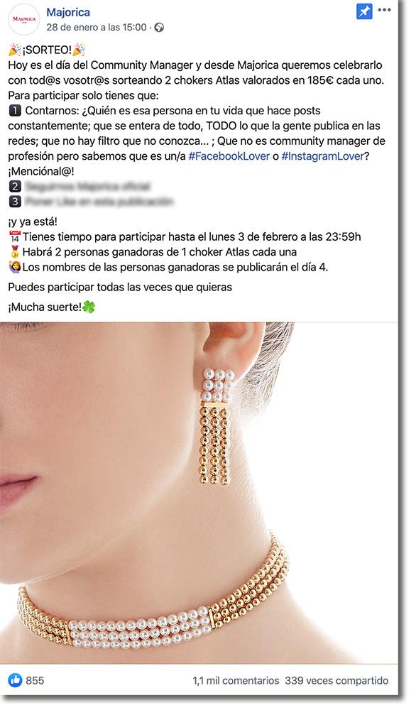 ejemplo de promoción de un producto en Facebook