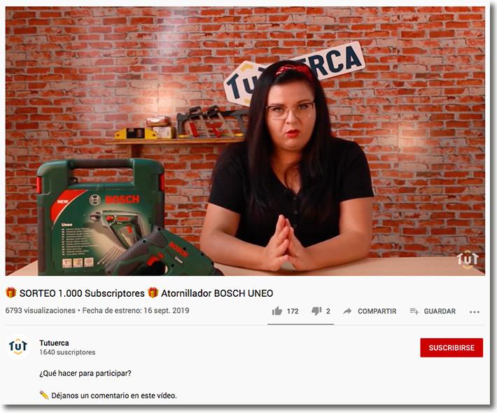 ejemplo de promoción de un producto en YouTube