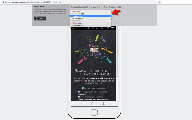 previsualizar app promocional según dispositivos