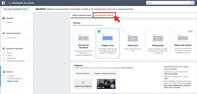 facebook ads publicacion-existente