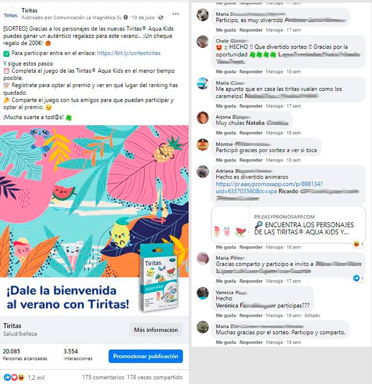 comentarios post facebook juego Tiritas