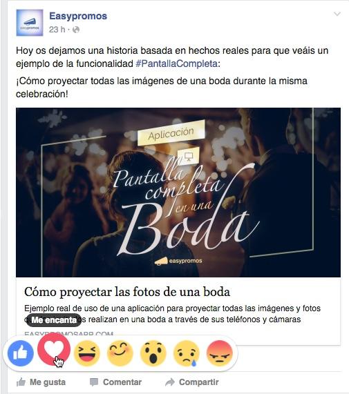 Botón Me Gusta Facebook Reactions