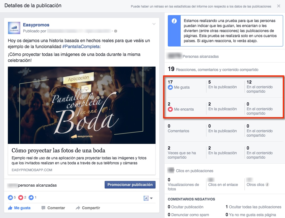 Estadísticas a las reacciones de un post en Facebook