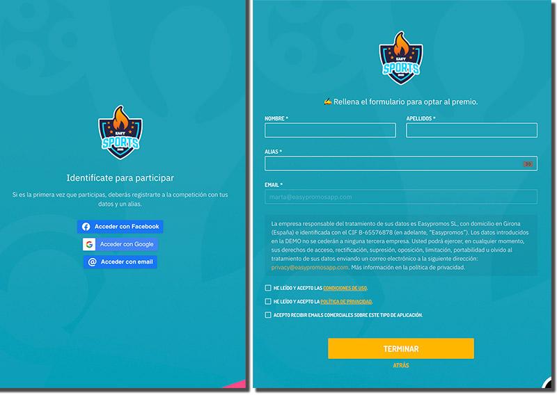 páginas de registro para un torneo online