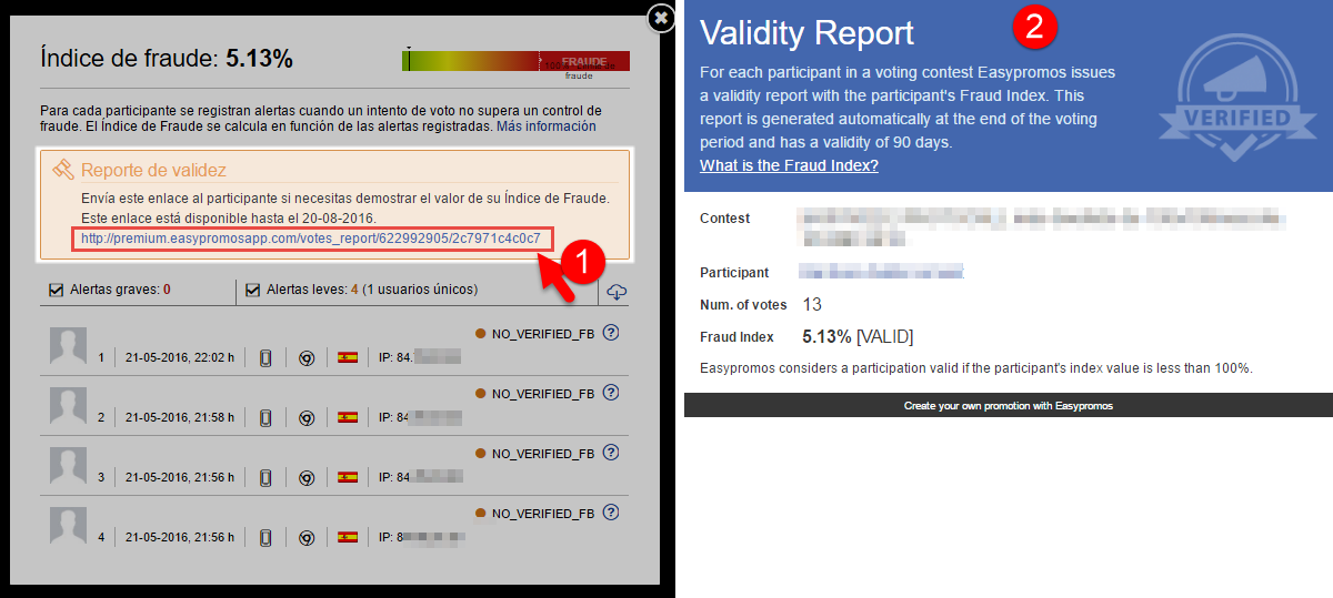 reporte de validez