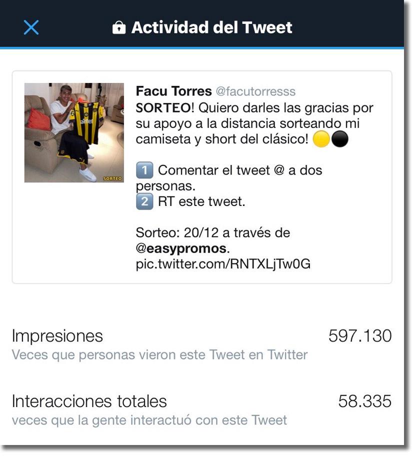 resultado del sorteo en Twitter de Facu Torres