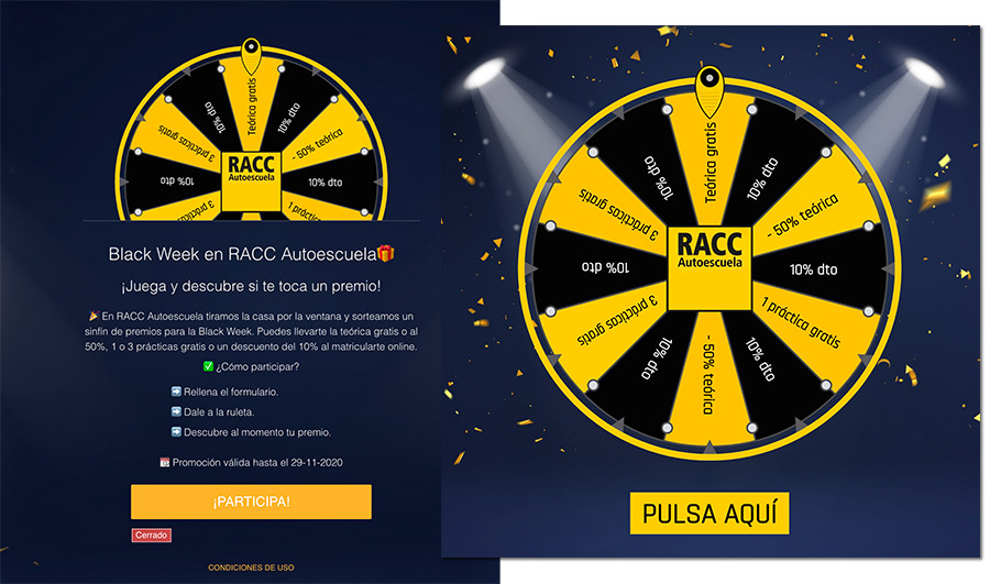 Ruleta Black Friday de Autoescuela RACC