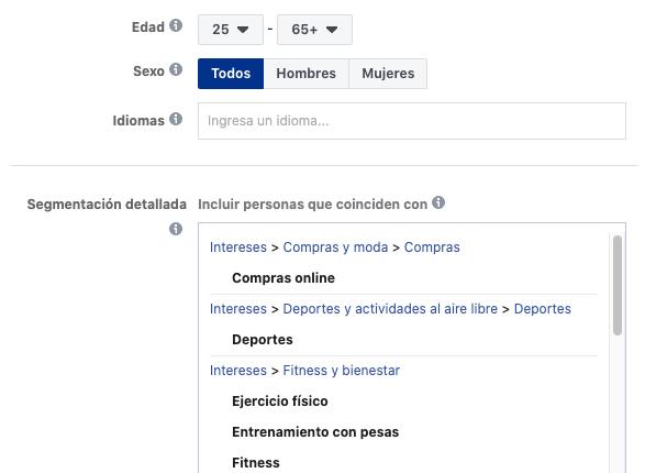 segmentacion administrador anuncios Facebook