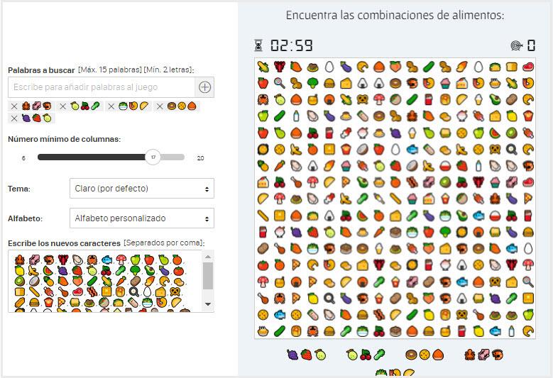 sopa letras emojis comida