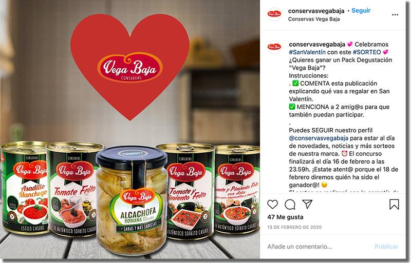 ejemplo de sorteo en Instagram de san valentín