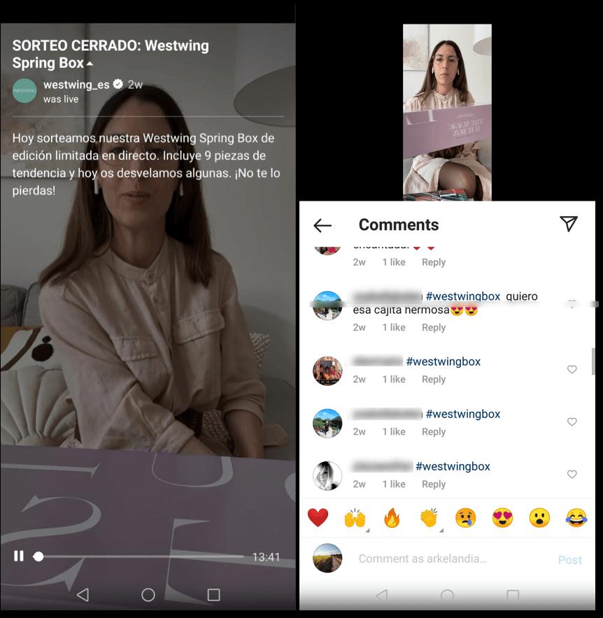 sorteo en Instagram live
