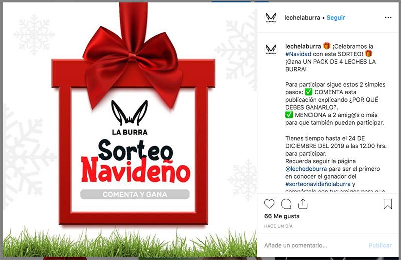sorteo en instagram para fomentar el recuerdo de marca