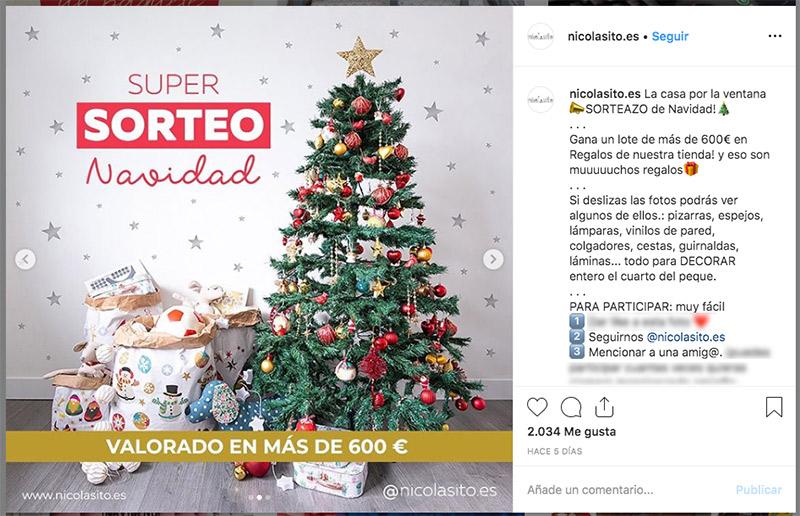 ejemplo de sorteo de Navidad en Instagram