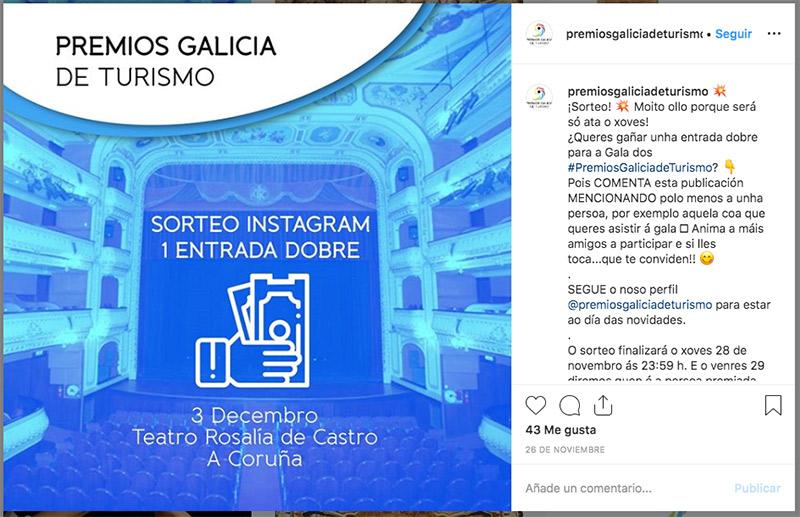 ejemplo de sorteo en instagram para dar a conocer un evento