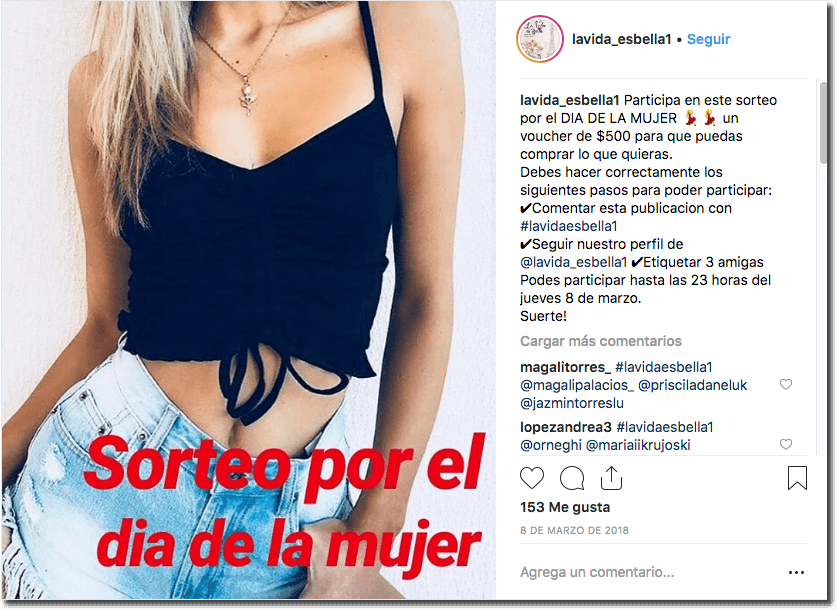 sorteo en Instagram del día de la mujer