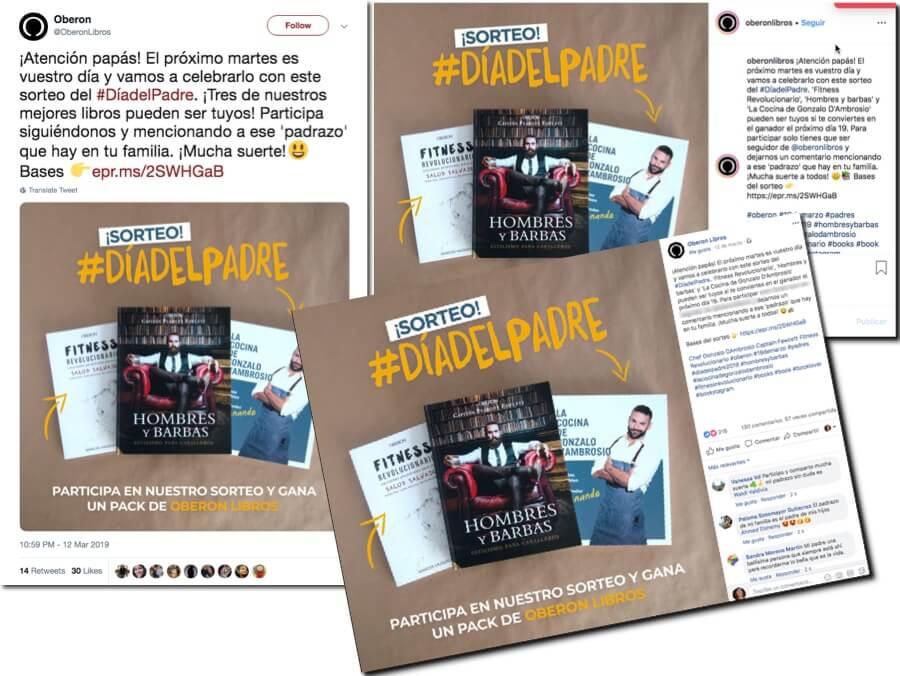 sorteo libro en twitter instagram y facebook