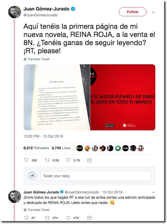 sorteo libro escritor en twitter