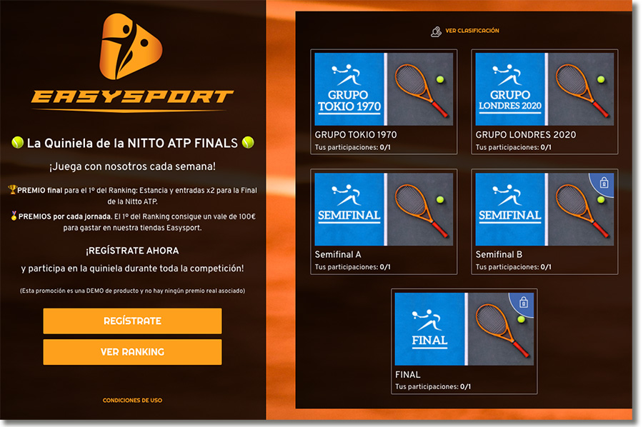 ejemplo de promoción multijornada de un torneo de tenis