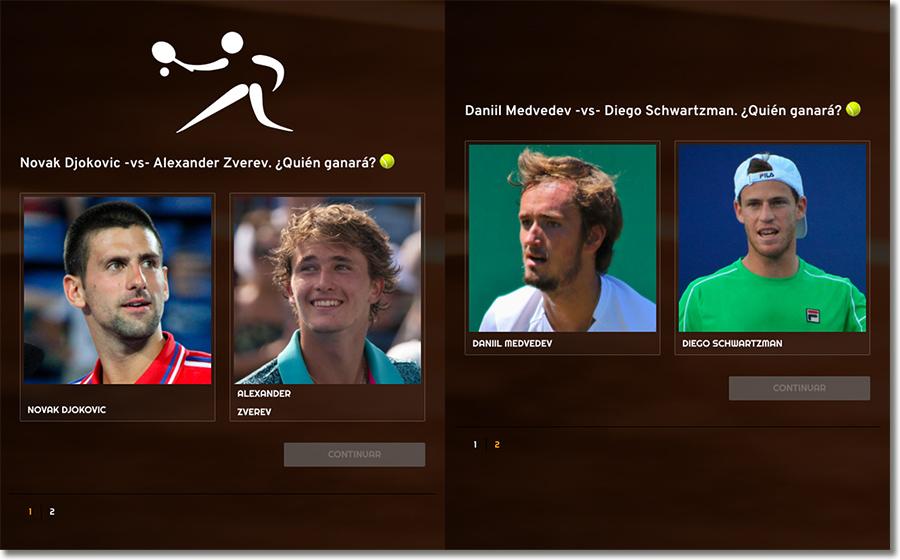 ejemplos de preguntas de una quiniela de tenis