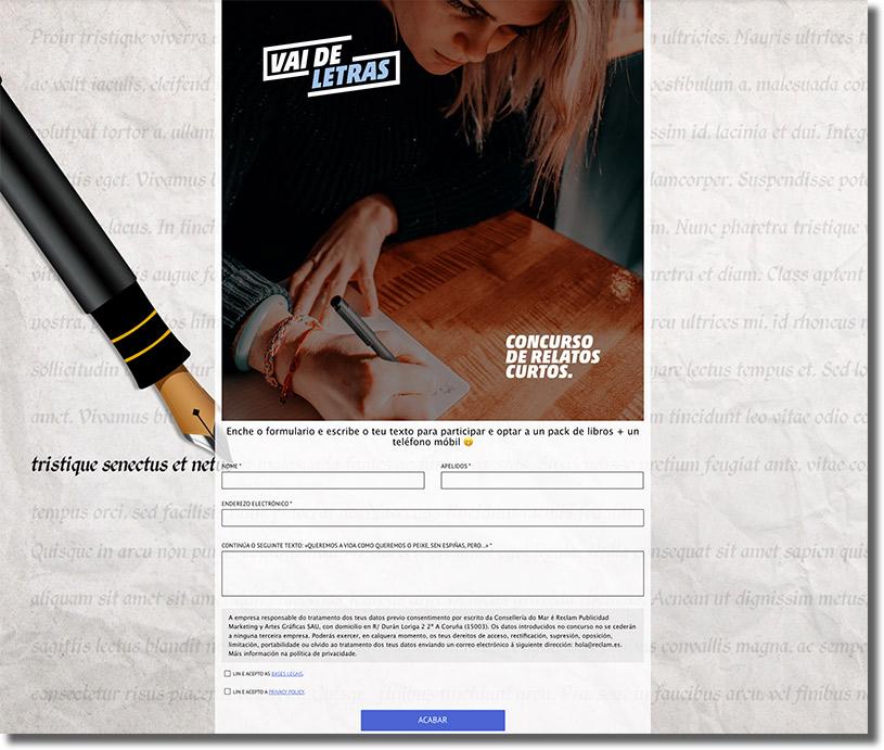 formulario de registro del concurso VaideLetras