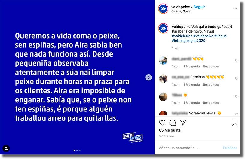 relato de la persona ganadora del concurso Vai de Letras