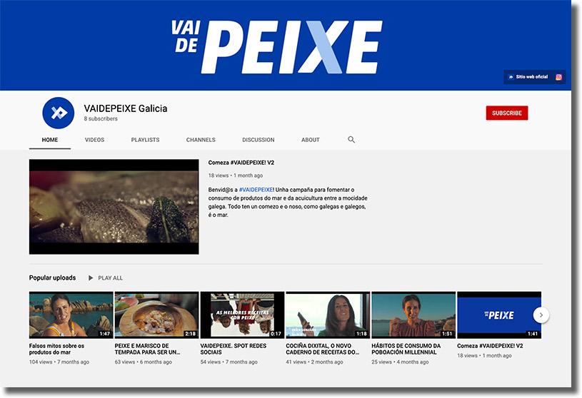 canal de youtube de la campaña VaidePeixe