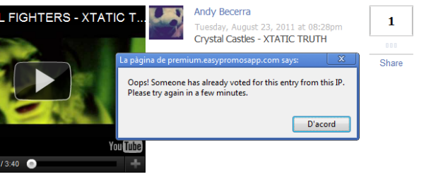 Notificación por voto desde misma IP